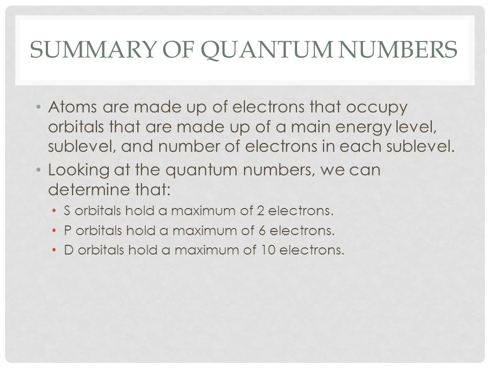 Summary of quantum numbers