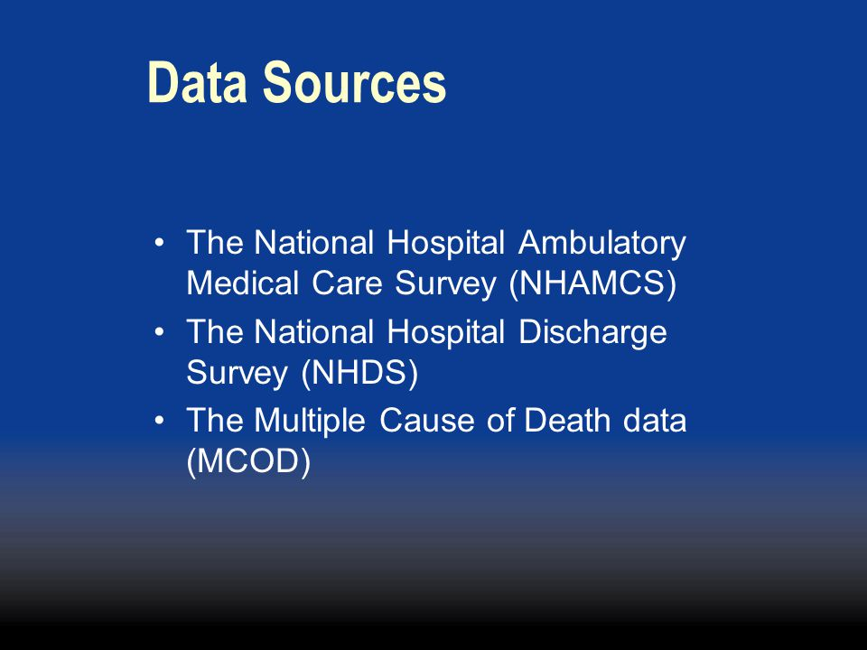 Data Sources The National Hospital Ambulatory Medical Care Survey (NHAMCS) The National Hospital Discharge Survey (NHDS)