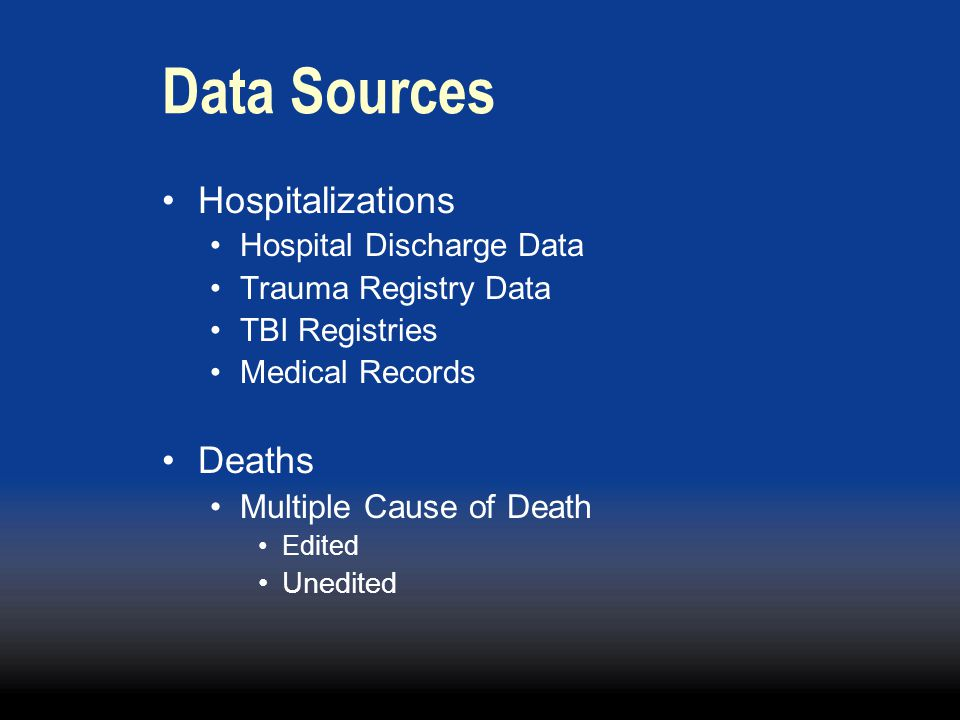 Data Sources Hospitalizations Deaths Multiple Cause of Death
