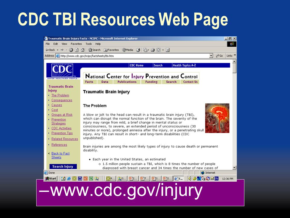CDC TBI Resources Web Page