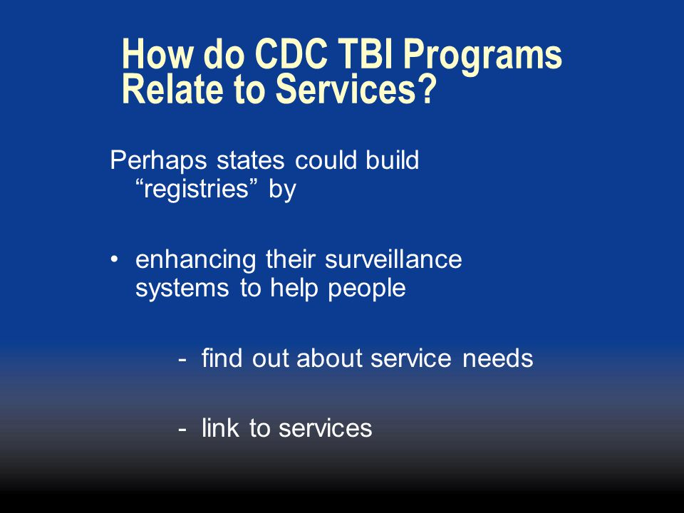 How do CDC TBI Programs Relate to Services