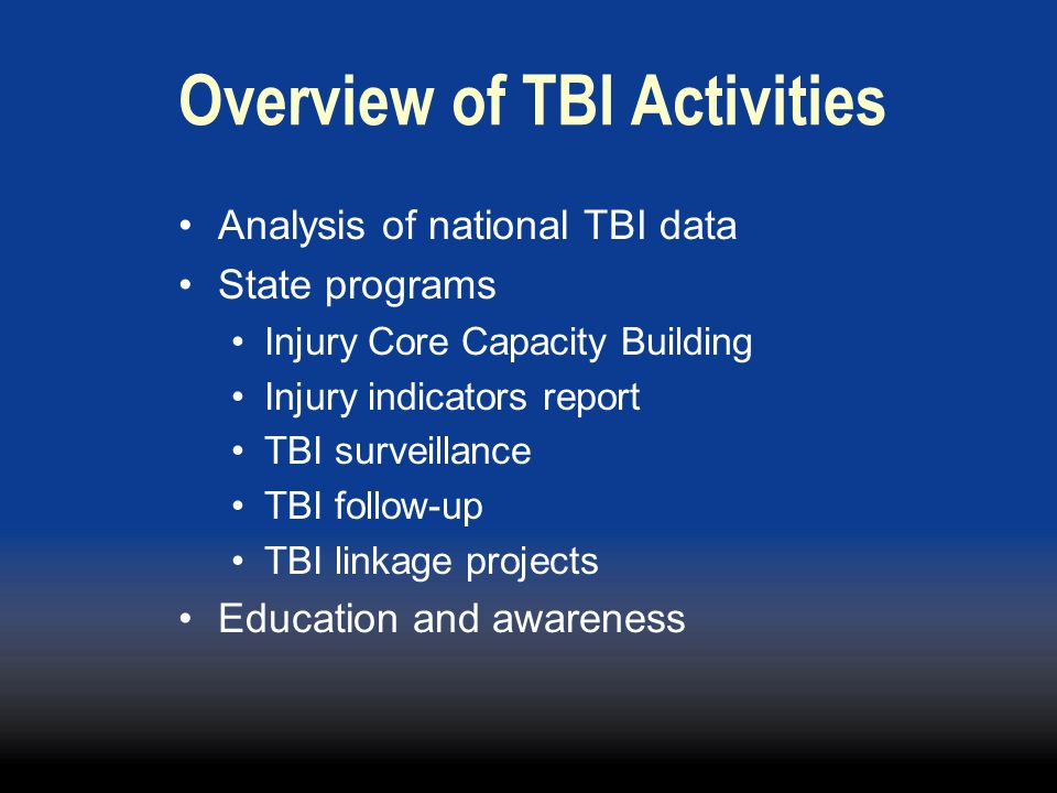 Overview of TBI Activities