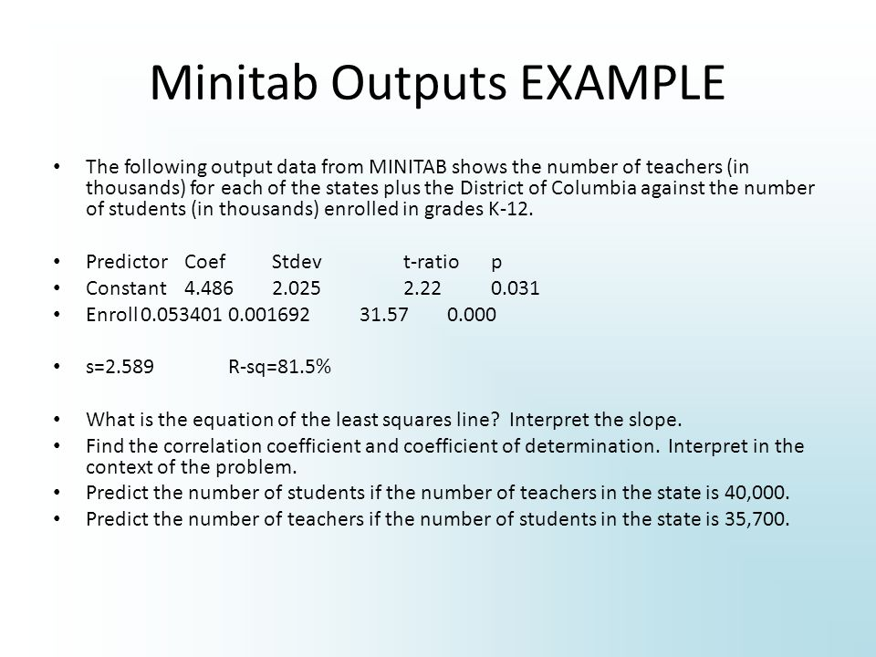 Minitab Outputs EXAMPLE