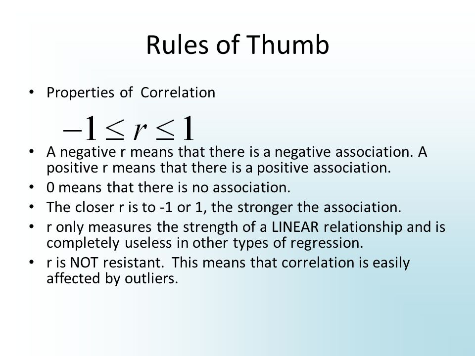 Rules of Thumb Properties of Correlation