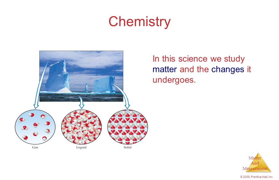 Chemistry In this science we study matter and the changes it undergoes. © 2009, Prentice-Hall, Inc.