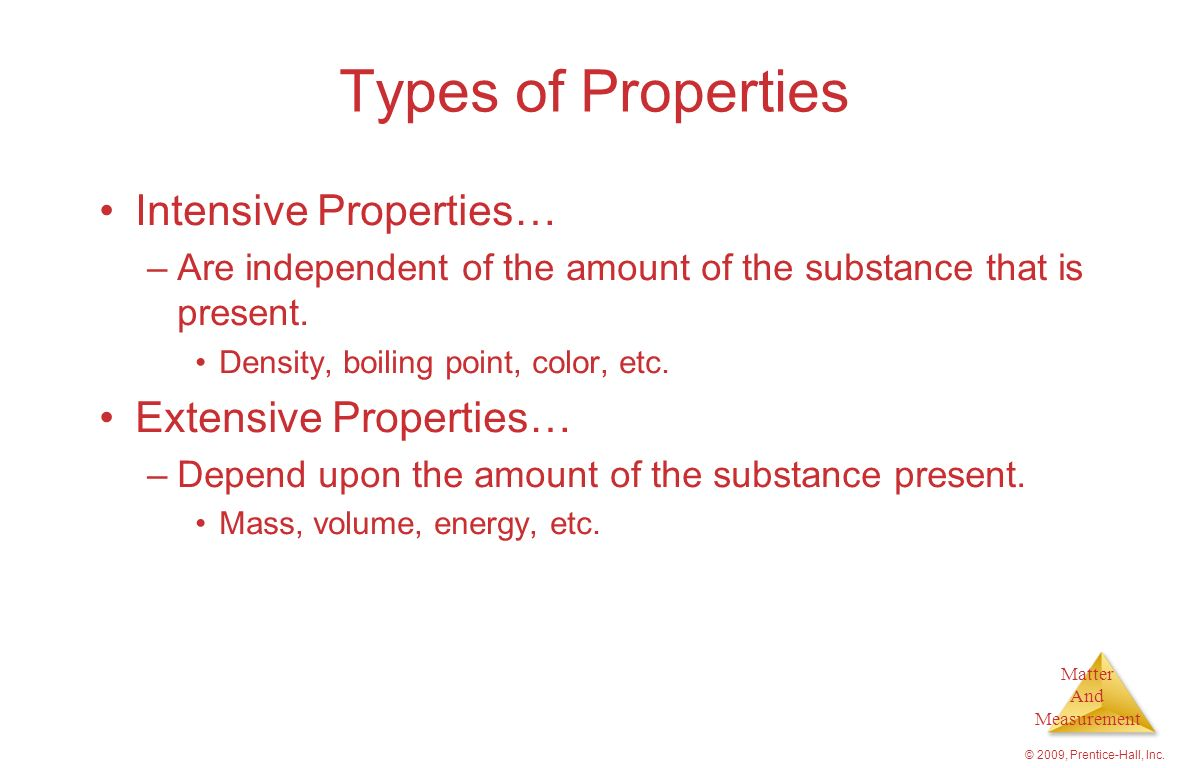 Types of Properties Intensive Properties… Extensive Properties…