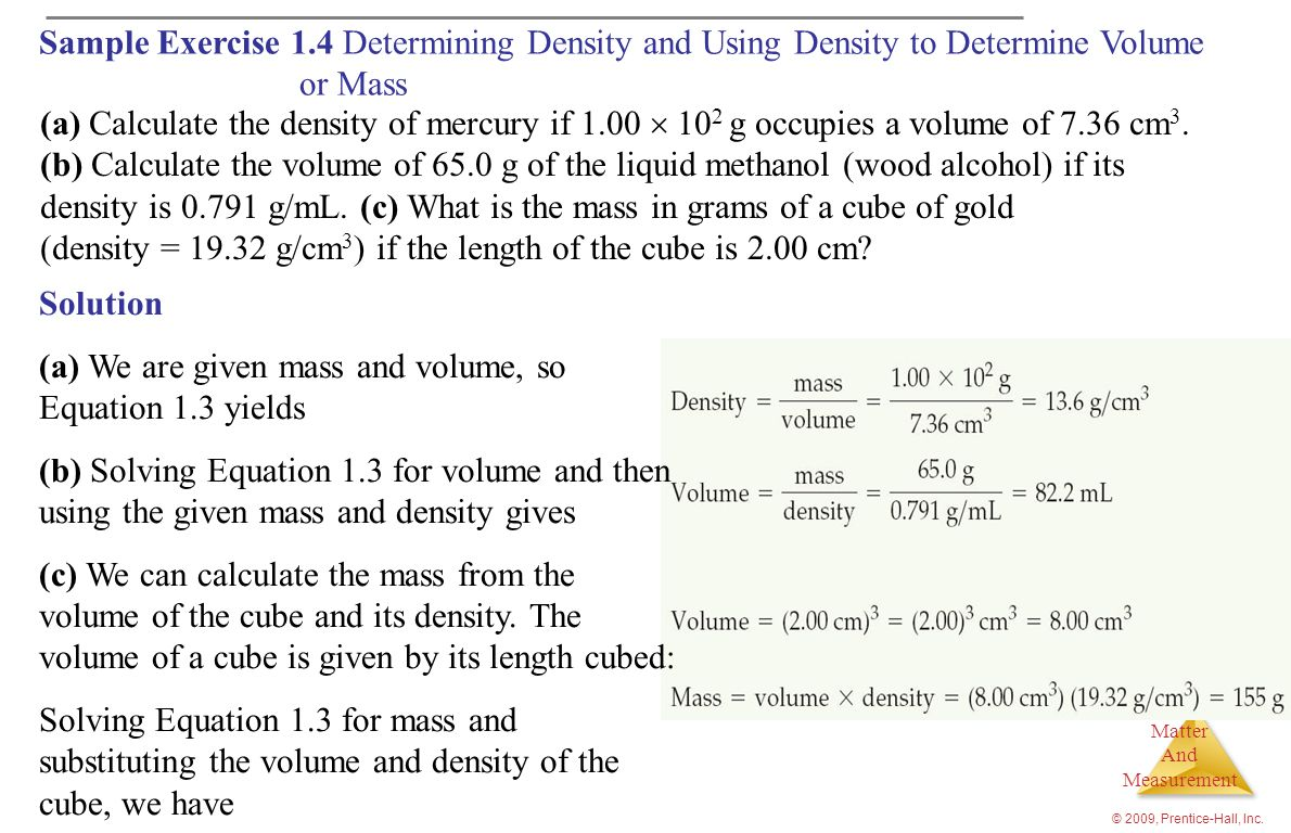 density is g/mL. (c) What is the mass in grams of a cube of gold