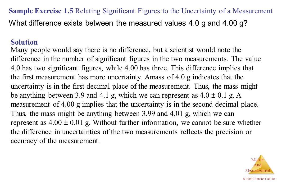 What difference exists between the measured values 4.0 g and 4.00 g