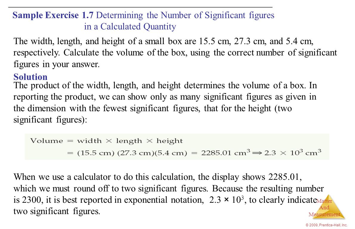 Sample Exercise 1.7 Determining the Number of Significant figures in a Calculated Quantity