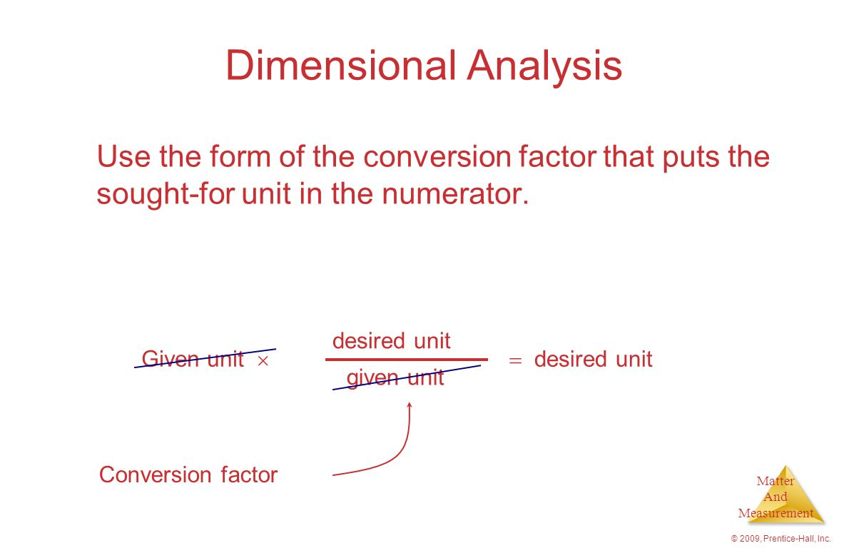 Dimensional Analysis Use the form of the conversion factor that puts the sought-for unit in the numerator.