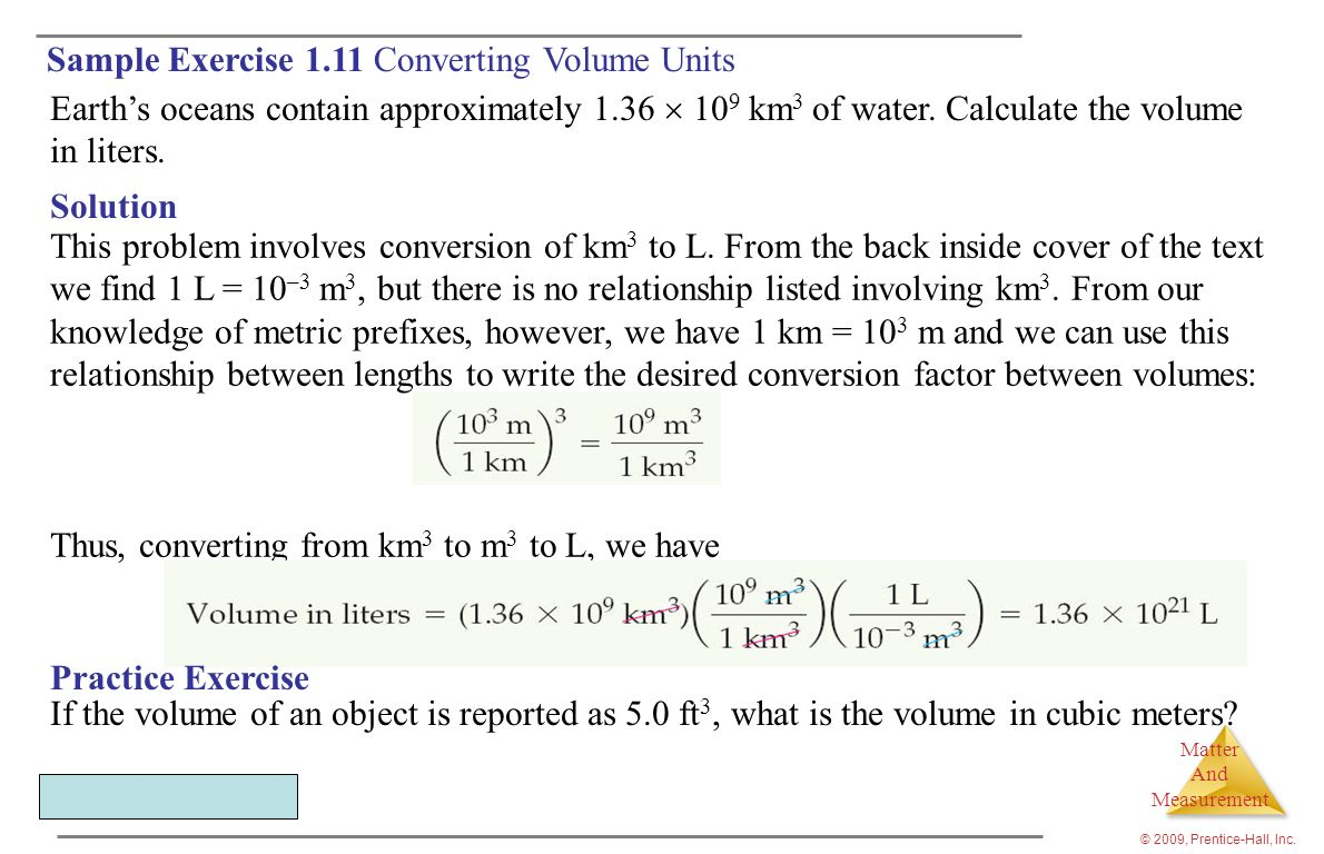 Sample Exercise 1.11 Converting Volume Units