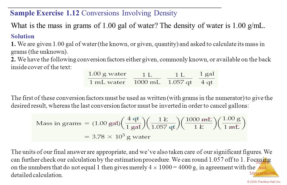 Sample Exercise 1.12 Conversions Involving Density