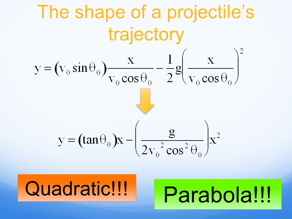 The shape of a projectile's trajectory