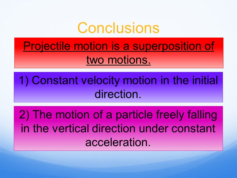Conclusions Projectile motion is a superposition of two motions.