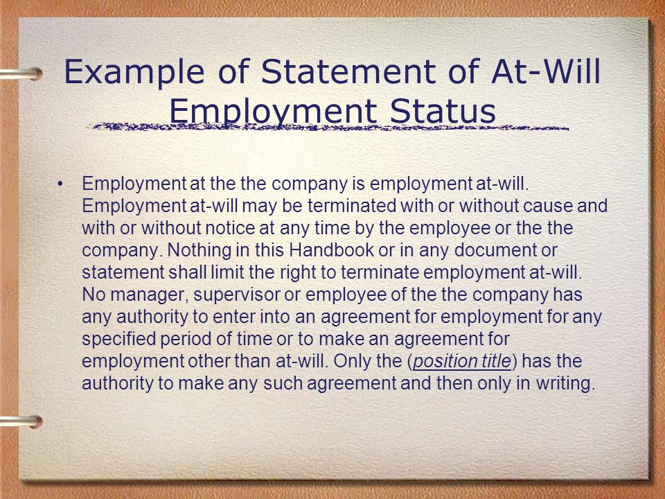 Example of Statement of At-Will Employment Status