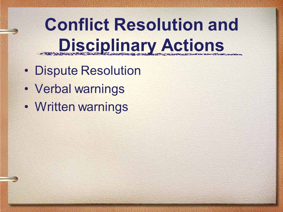Conflict Resolution and Disciplinary Actions