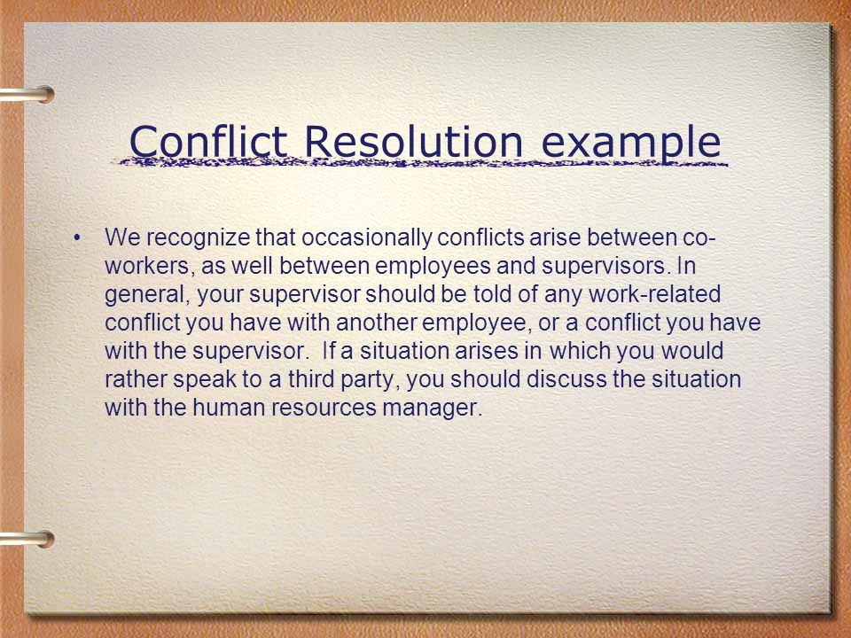 Conflict Resolution example