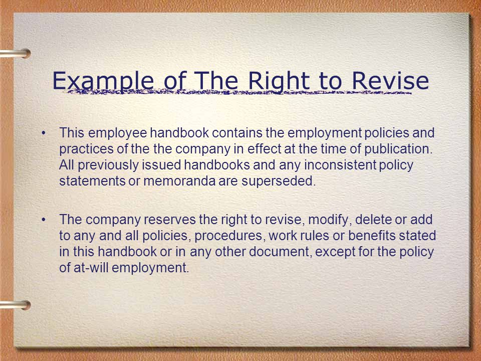 Example of The Right to Revise