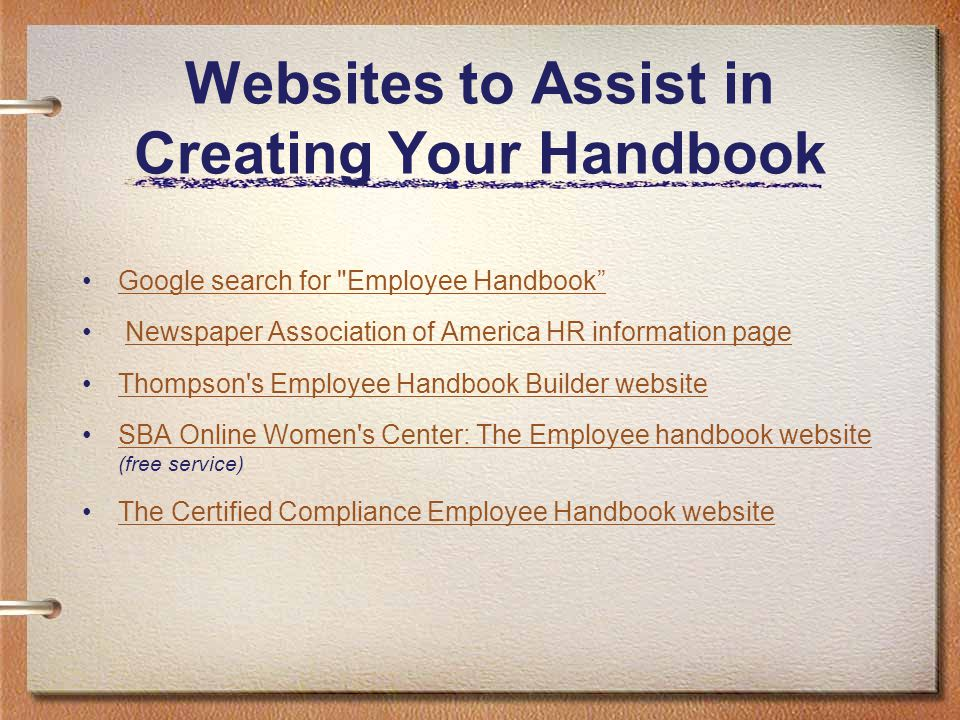Websites to Assist in Creating Your Handbook