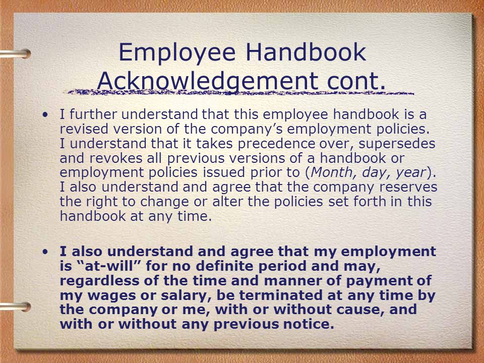 Employee Handbook Acknowledgement cont.