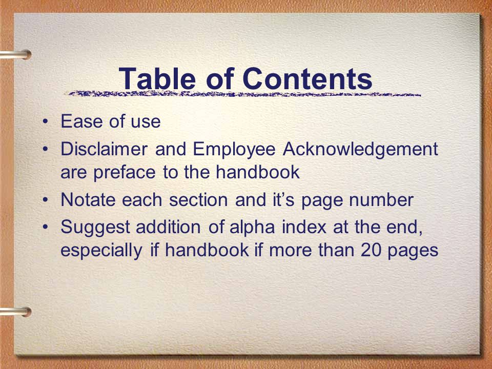 Table of Contents Ease of use