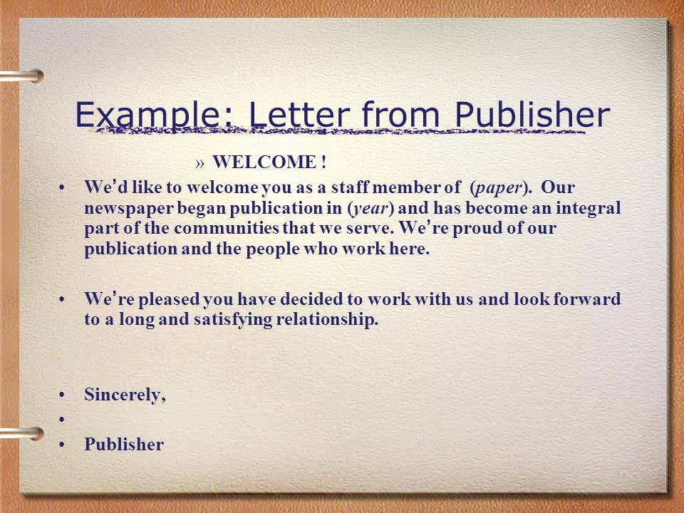 Example: Letter from Publisher