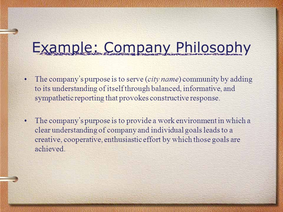 Example: Company Philosophy