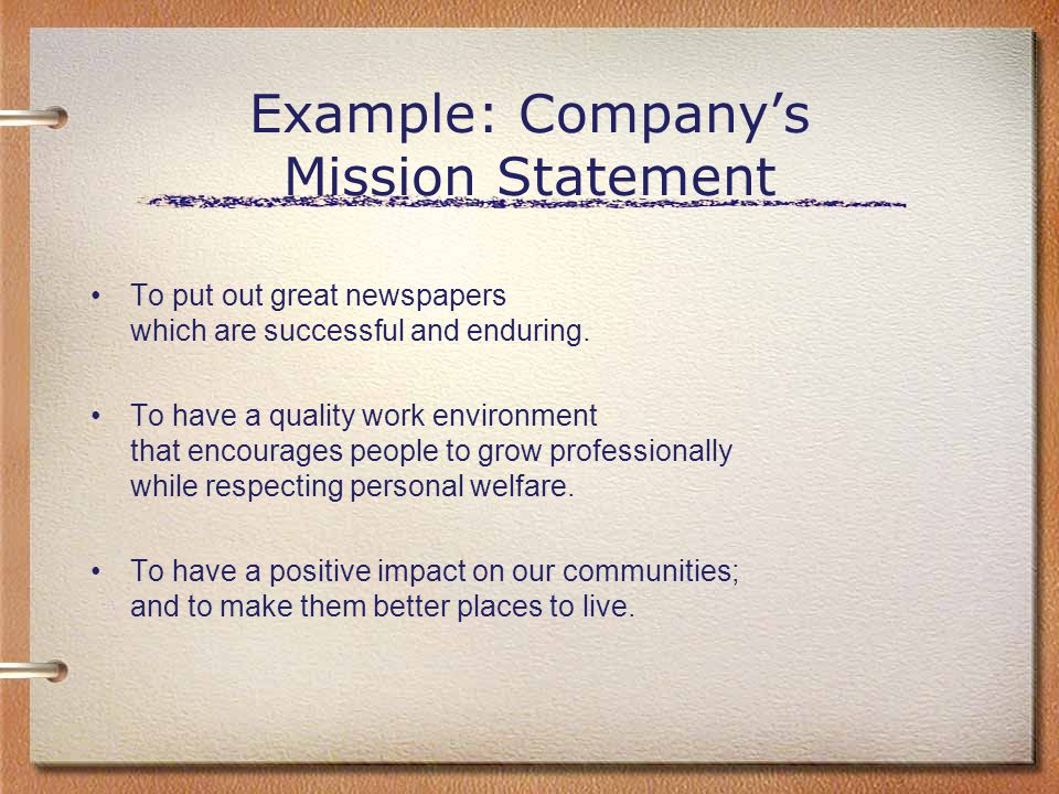 Example: Company's Mission Statement