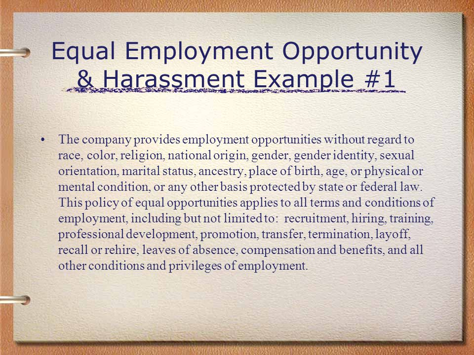Equal Employment Opportunity & Harassment Example #1