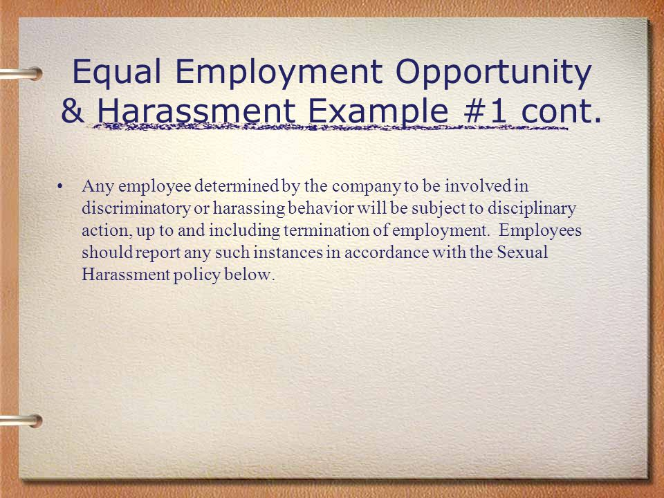 Equal Employment Opportunity & Harassment Example #1 cont.