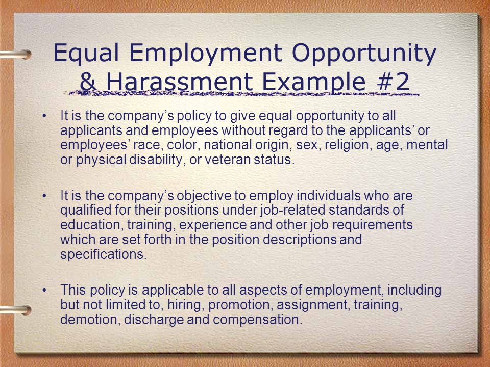 Equal Employment Opportunity & Harassment Example #2