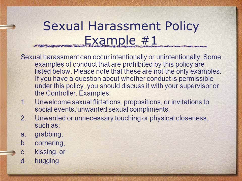 Sexual Harassment Policy Example #1