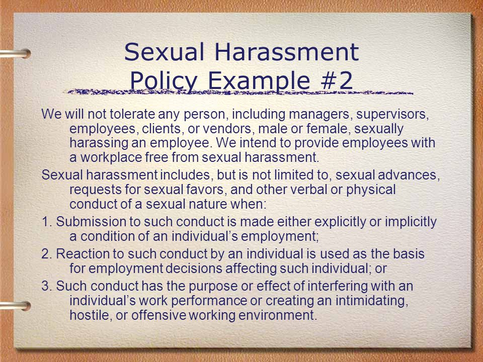 Sexual Harassment Policy Example #2