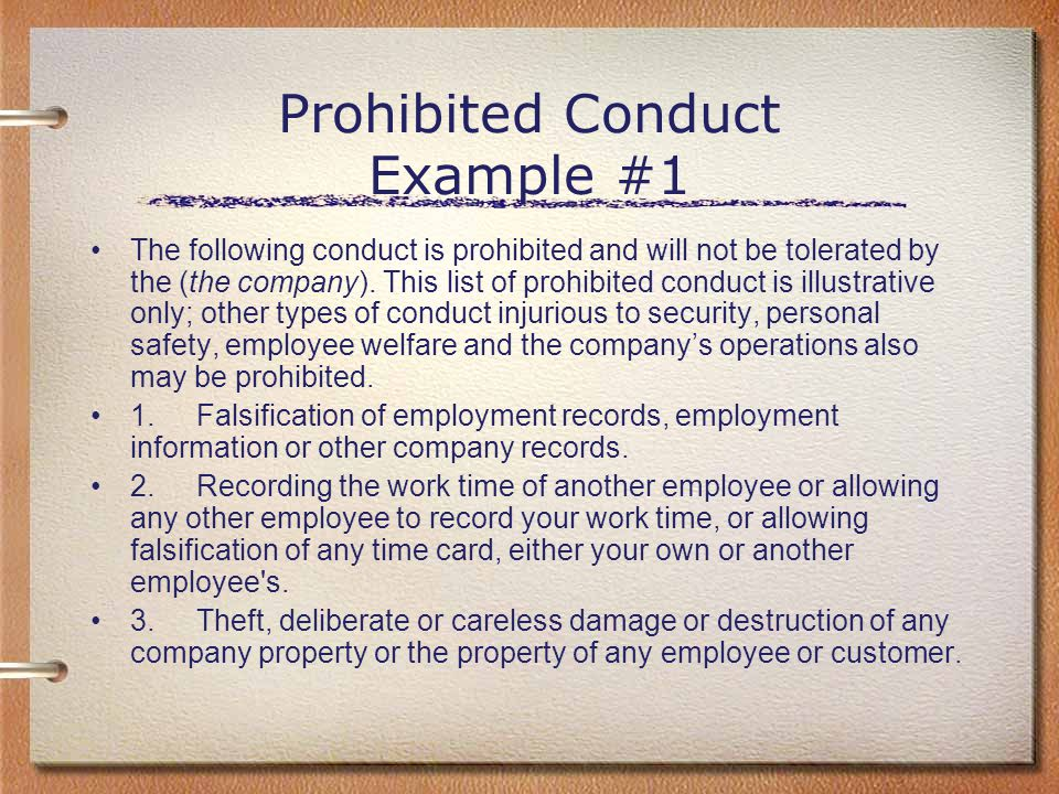 Prohibited Conduct Example #1