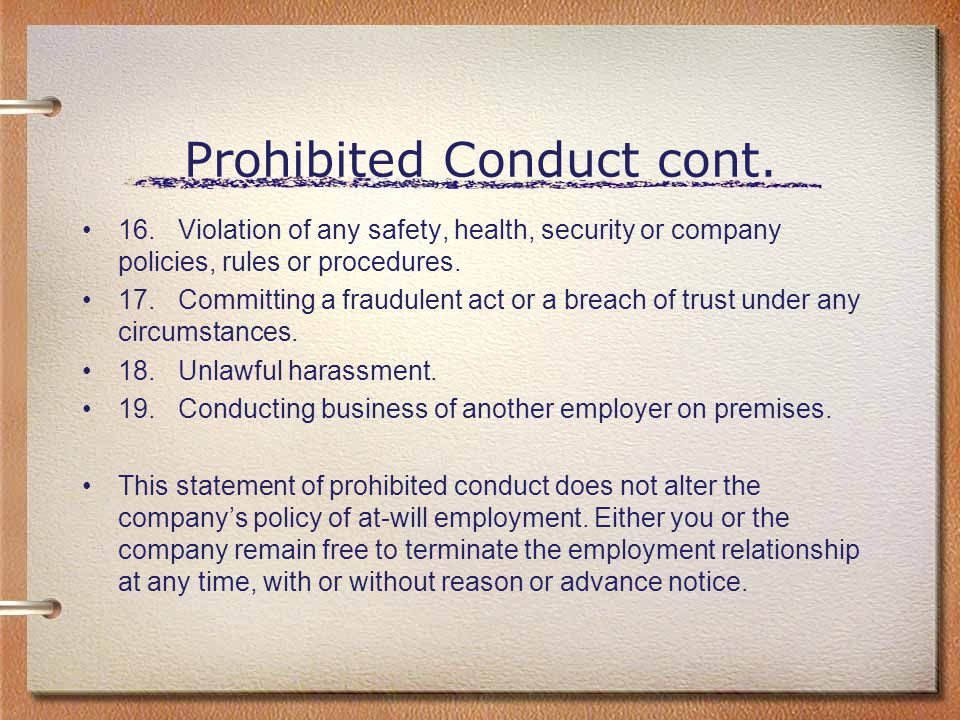 Prohibited Conduct cont.
