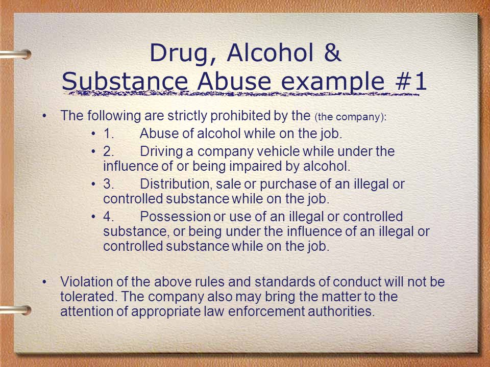 Drug, Alcohol & Substance Abuse example #1