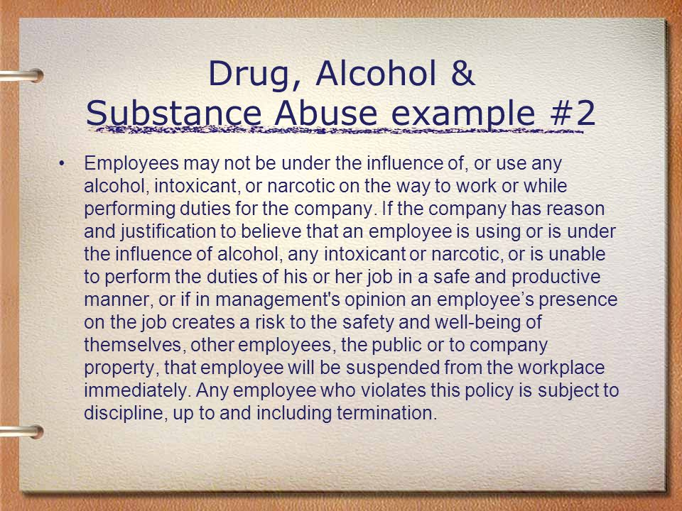 Drug, Alcohol & Substance Abuse example #2