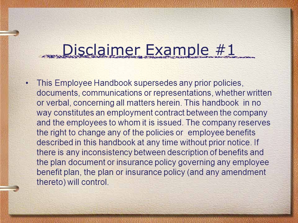 Disclaimer Example #1
