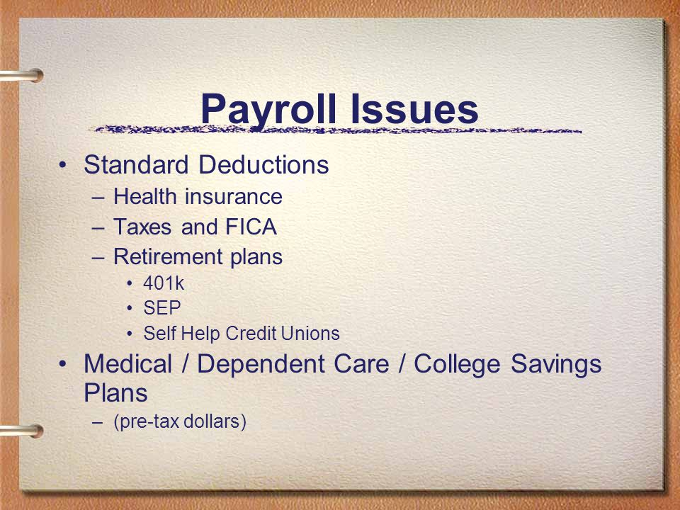 Payroll Issues Standard Deductions