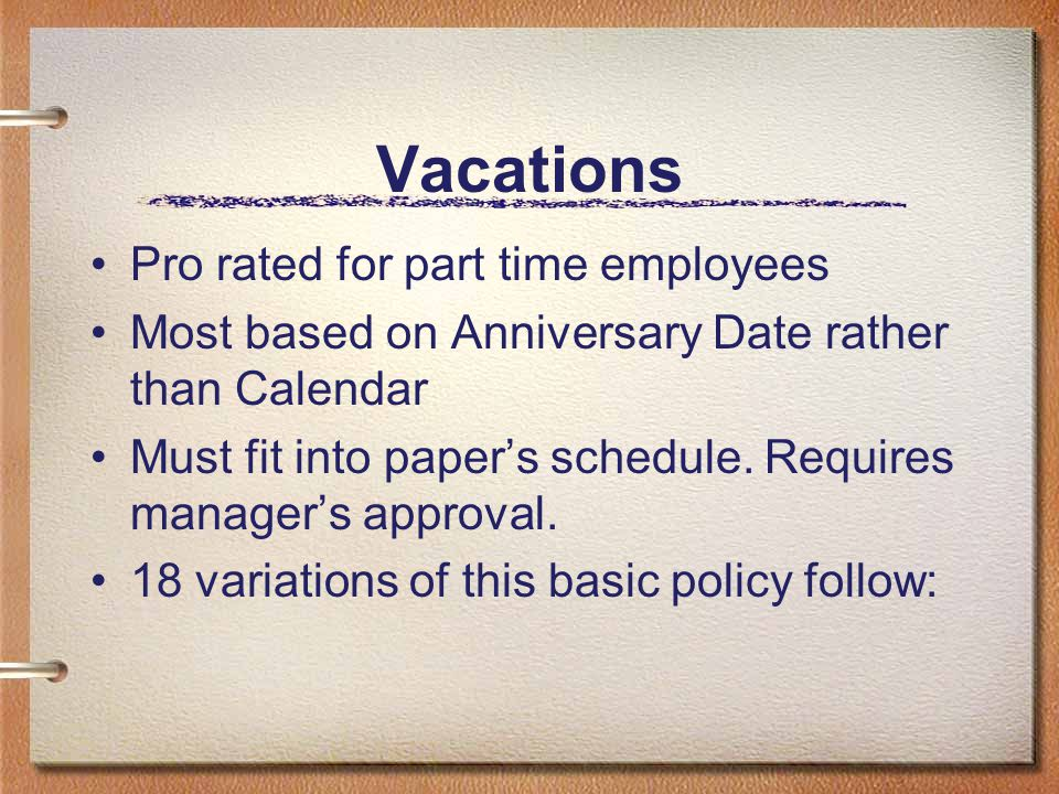 Vacations Pro rated for part time employees