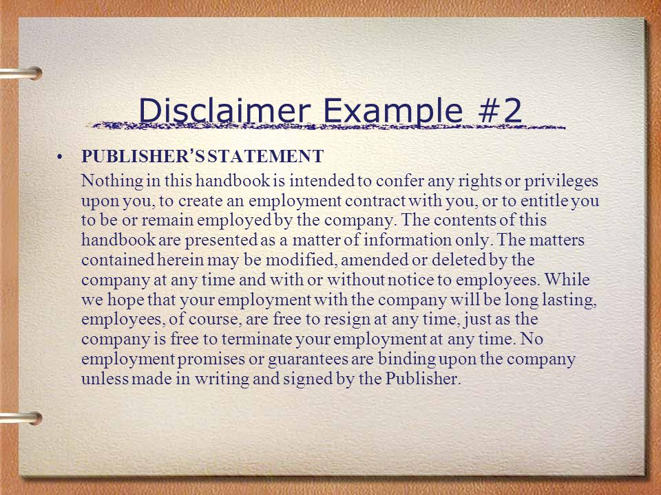 Disclaimer Example #2 PUBLISHER'S STATEMENT