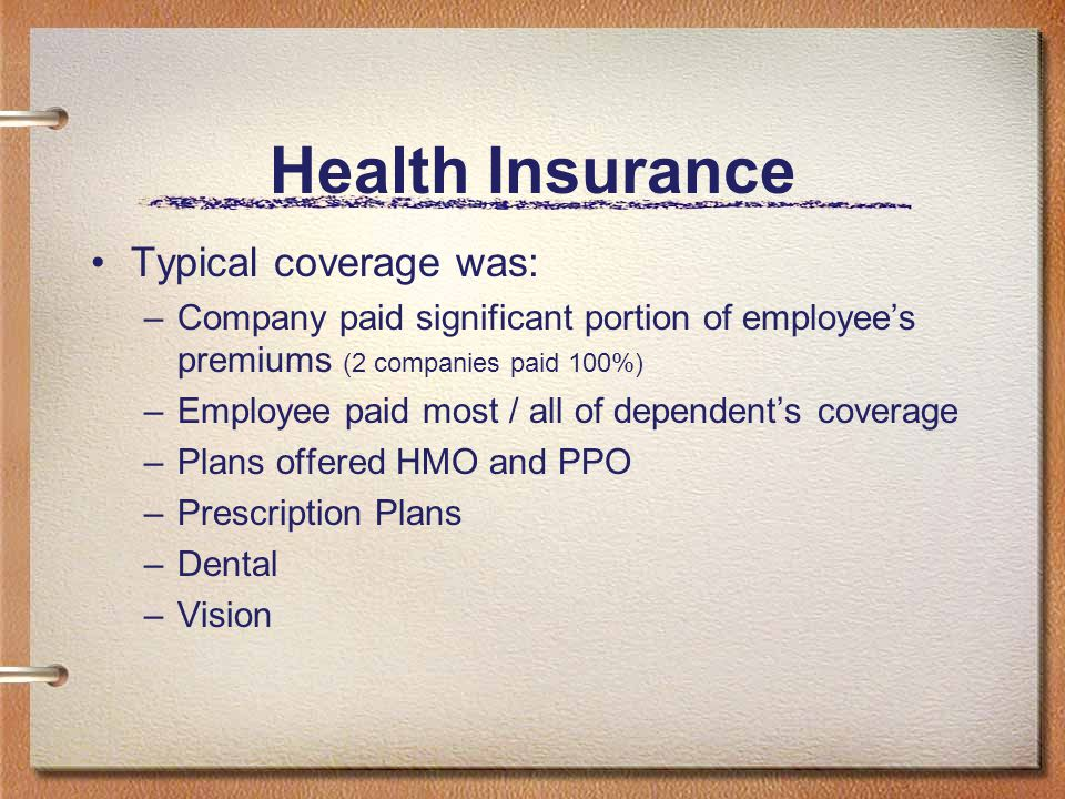 Health Insurance Typical coverage was: