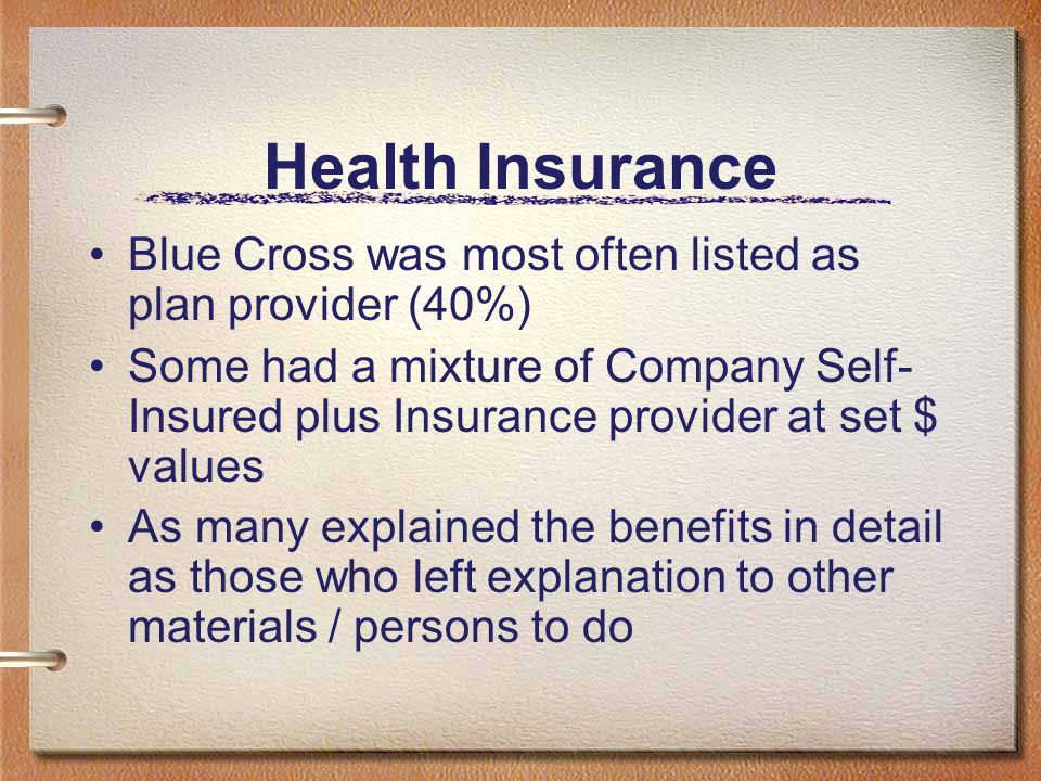 Health Insurance Blue Cross was most often listed as plan provider (40%)