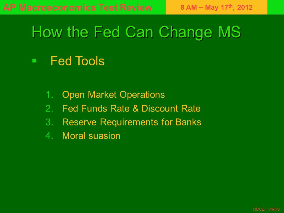 How the Fed Can Change MS