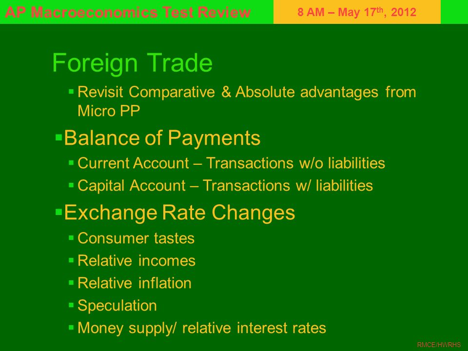 Foreign Trade Balance of Payments Exchange Rate Changes