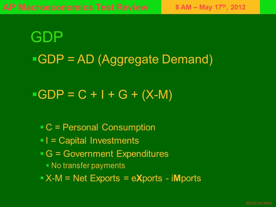GDP GDP = AD (Aggregate Demand) GDP = C + I + G + (X-M)