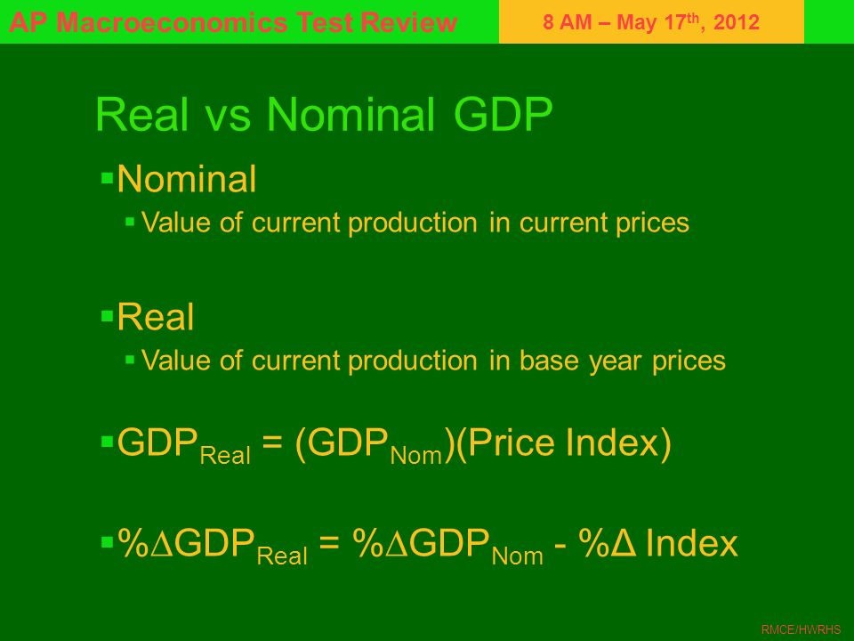 Real vs Nominal GDP Nominal Real GDPReal = (GDPNom)(Price Index)