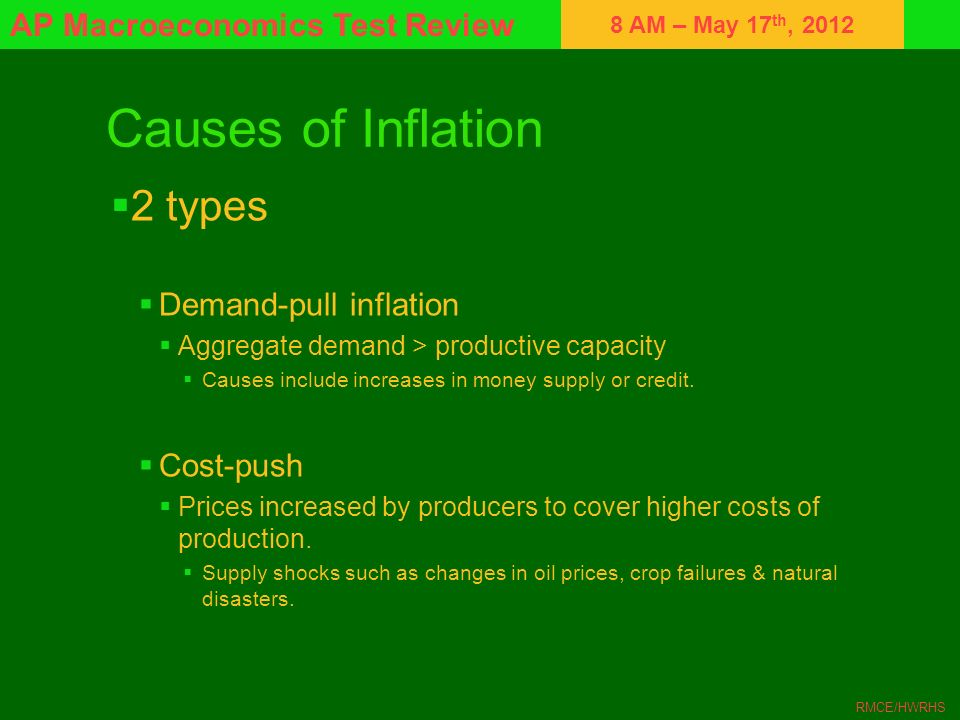 Causes of Inflation 2 types Demand-pull inflation Cost-push