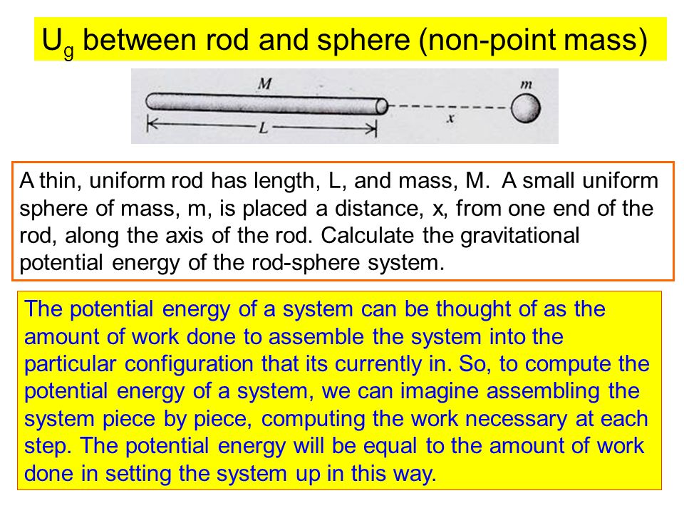 Ug between rod and sphere (non-point mass)