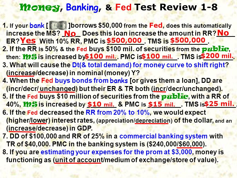 Money, Banking, & Fed Test Review 1-8